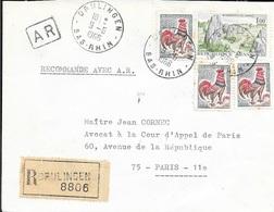 BAS RHIN 67   -  DRULINGEN  -  CACHET RECETTE R A8  -  1966 - SUR LETTRE RECOMMANDEE AVEC ACCUSE RECEPTION - Marcophilie (Lettres)