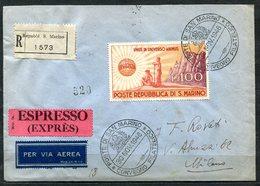 G43-26 SAN MARINO 1946 UNRRA 100 L. Isolato Su Raccomandata Da  San Marino 30 Nov 1946 Per Milano, Annulli Di Transito E - San Marino