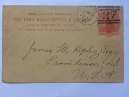 GB Victoria 1895 Postcard Ayr Scotland Duplex To Providence USA Including New York Transit Mark - 1840-1901 (Victoria)