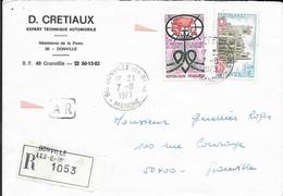 MANCHE 50   - DONVILLE LES BAINS -  CACHET RECETTE R A9  -  1973 -  ARRIVEE GRANVILLE R A9  -  SUR L. RECOMMANDEE A.R. - Bolli Manuali
