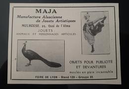 MAJA MANUFACTURE JOUETS ARTICULES ARTISTIQUES ALSACIENNE ANIMAUX ALSACE MULHOUSE 68 PUBLICITE 1926 JOUET TOY - Publicités