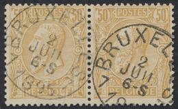"""émission 1884 - N°50 En Paire Obl Simple Cercle """"Bruxelles 7"""" - 1884-1891 Léopold II"""