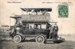 France - 35 - Cancale - Départ De L' Autobus Saint-Malo-Cancale - Publicité Hôtel Du Guesclin - Cancale
