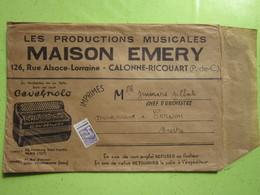 Enveloppe Publicitaire Productions Musicales MAISON EMERY à CALONNE-RICOUART (62) Timbre Préoblitéré Type Coq 008 - Advertising