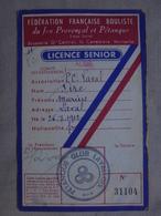 Ancien - Licence Senior Pétanque Club Lavallois (Aude) 1953/1956 - Non Classés