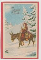 593 _ MIGNONETTE JOYEUX NOEL .PERE NOEL ANE TAMBOUR POLICHINET DIVERS JOUETS DANS PAYSAGE ENNEIGE - Weihnachten