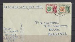Zanzibar: 1 Lettre Vers La Belgique - Zanzibar (...-1963)
