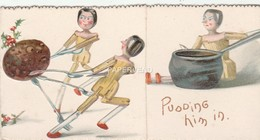Greeting Card Peg Dolls Pulling A Pudding Towards A Pot Opens Stands  Egc590 - Old Paper