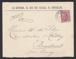 """émission 1884 - N°46 Sur Lettre Obl Ambulant """"Ambt-Brux-Arlon N°2"""" + Griffe Encadrée """"Bruxelles"""" Vers Braibant Par Ciney - 1884-1891 Léopold II"""