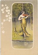 Femme Jouant Du Violon Dans Encadré - Fleurs Gaufrées - Illustration - Femmes