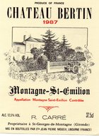 Etiquette (9X12 ) Château BERTIN  1987  Montagne-St Emilion   R Carré  Propriétaire à St Georges-de-Montagne  33 - Bordeaux