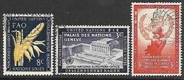 UN NY   1954   Sc#24, 27, 29  Better Used  2016 Scott Value $4.50 - New-York - Siège De L'ONU