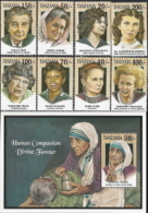 Tanzania,  Scott2012 # 998a-h + 999,  Issued 1993,  Set Of 8 + S/S Of 1,  NH,  Cat $ 24.00,  Women - Tanzania (1964-...)