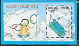 NICARAGUA - 1990 GIOCHI OLIMPICI INVERNALI ALBERTVILLE '92 - FOGLIETTO USATO (YVERT BF 198 - MICHEL BL 187) - Inverno1992: Albertville