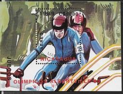NICARAGUA - 1990 GIOCHI OLIMPICI INVERNALI ALBERTVILLE '92 - FOGLIETTO USATO (YVERT BF 191 - MICHEL BL 185) - Inverno1992: Albertville