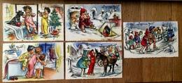 """GERMAINE BOURET - """" Joyeux Noël """" - 5 Cartes Mignonettes Anciennes - Illustrateur - Bouret, Germaine"""