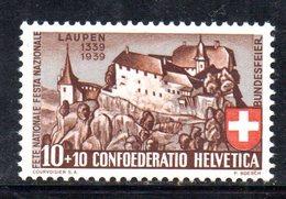 480/1500 - SVIZZERA 1939 , Unificato N. 341  ***  MNH.  Pro Patria - Pro Patria