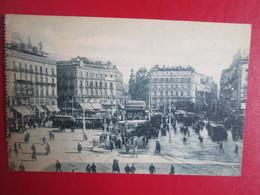 Madrid . Puerta Del Sol . Tramway . Carte Ecrite Et Timbree - Madrid