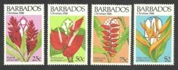 BARBADOS 1986 CHRISTMAS FLOWERS CHURCH WINDOWS SET MNH - Barbados (1966-...)