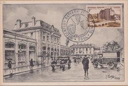 CARTE IVé 1952  CENTENAIRE RATTACHEMENT  TROIS EVECHES (TOUL) GARE DES CHEMINS DE FER DE L'ETAT - Marcophilie (Lettres)