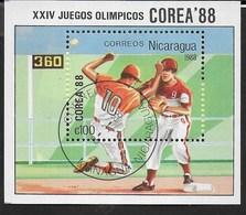 NICARAGUA - 1988 - GIOCHI OLIMPICI ESTIVI - SEUL '88 - BASEBALL - FOGLIETTO USATO (YVERT BF 183 - MICHEL BL 177) - Estate 1988: Seul
