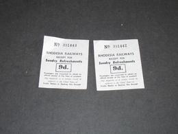 RHODESIAN RAILWAYS - RECEIPT FOR SUNDRY RERESHMENTS 9d. 2 Tickets - Railway