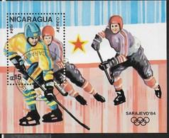 NICARAGUA - 1987 - GIOCHI OLIMPICI INVERNALI - CALGARY '88 - HOCKEY - FOGLIETTO USATO (YVERT BF 181A - MICHEL BL 172) - Inverno1988: Calgary