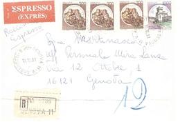 RACCOMANDATA ESPRESSO ANNULLO GENOVA 11 V. ASSAROTTI - 1946-.. République