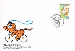 33662. Carta F.D.C. SEOUL (Corea Del Sur) 1985. Juegos Olimpicos 88. Ciclismo - Corea Del Sur
