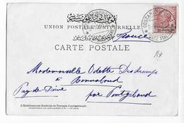 TURQUIE / BUREAU ITALIEN - 1910 - CARTE De CONSTANTINOPLE => PONTGIBAUD - 11. Auslandsämter