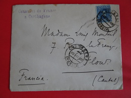 Maroc Espagnol-lettre Consulat De France à Carthagène Pour France St Flour (Cantal) Du 15 Mai 1909 (Yvert N°218) - Maroc Espagnol