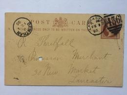 GB 1895 Postcard Lancaster Duplex And Bentham Thimble Mark Rare - 1840-1901 (Victoria)