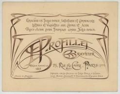 Carte Publicitaire Du Graveur E. Profillet , 25 Rue Du Caire à Paris . Dessin Art Nouveau De Brunetta . Léger Relief . - Publicités