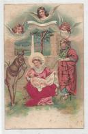 Sainte Famille à La Crèche. Âne Et Anges. Relief. - Christmas
