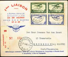 BELGIAN CONGO FIRST FLIGHT FROM LEO. 27.02.46 TO MEERBEKE - Congo Belge