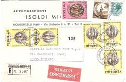 RACCOMANDATA ESPRESSO ANNULLO MOMBERCELLI ASTI AUTOTRASPORTI ISOLDI - 6. 1946-.. Repubblica
