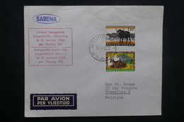 RUANDA - URUNDI - Enveloppe Du 1er Vol  Leopoldville / Bruxelles En 1960 ,affranchissement Plaisant - L 37031 - Ruanda-Urundi