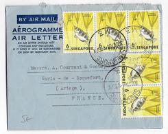 SINGAPORE - 1964 - LETTRE AEROGRAMME => CARTA DE ROQUEFORT (ARIEGE) - Singapour (1959-...)