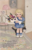AS71 Greetings - A Birthday Wish - Girl With Cat By Sidney Neville - Birthday