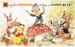 AS71 Greetings - May This Greeting Strike A Happy Note - Animal Musicians By Taylor - Holidays & Celebrations
