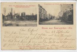 67 SAARWERDEN. Bonjour En 2 Clichés , Ruines Du Vieux Château , école , église , édit : C Kraemer , écrite  , état Extra - Autres Communes