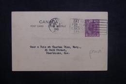 CANADA - Entier Postal Commerciale ( Repiquage Au Verso ) De Montréal Pour Sherbrooke En 1948 - L 37039 - 1903-1954 Reyes