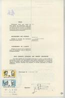 """(Maurice) Mauritius. Timbres Postaux Utilisés Comme Fiscaux Sur Certificat D'avaries 1981. Bateau """"Utrillo"""" . - Maurice (1968-...)"""