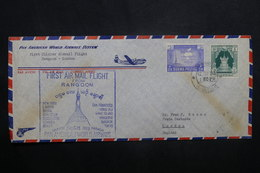 BIRMANIE - Enveloppe 1er Vol Rangoon / Londres En 1953, Affranchissement Plaisant - L 37050 - Myanmar (Birmanie 1948-...)