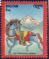 BHUTAN - Buddhist Luck Symbols - HORSES - **MNH - 1986 - Buddhismus