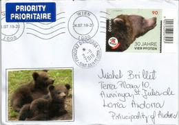 """""""Vier Pfoten"""", Organisation Autrichienne Pour Promouvoir Le Bien-être Des Animaux ,lettre WIEN Adressée Andorra - Bären"""