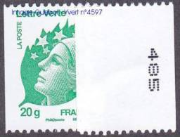 France N° 4597 ** Marianne De Beaujard Gommée La Roulette LETTRE VERTE, ECOPLI Au Verso N° à Droite - Neufs