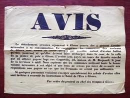 Guerre 1870-71 . Affiche Par Ordre Du Général En Chef Des Troupes à Gisors . Les Prussiens Paieront Désormais L'avoine . - Documents
