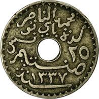Monnaie, Tunisie, Muhammad Al-Nasir Bey, 25 Centimes, 1919, Paris, TTB - Tunisie