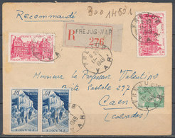 FRANCE - 11.1.1949, Reco Cover From FREJUS (Var) To CAEN (Calvados) - 1921-1960: Modern Period